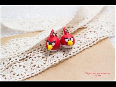 Фото мастер класс Сережки из полимерной глины Angry Birds