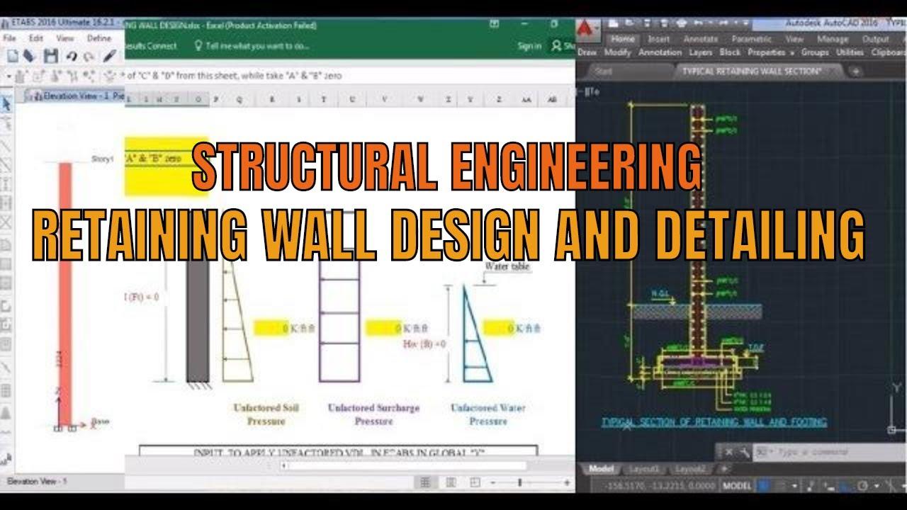 Rcc Retaining Wall Design Using Etabs Tutorial Youtube