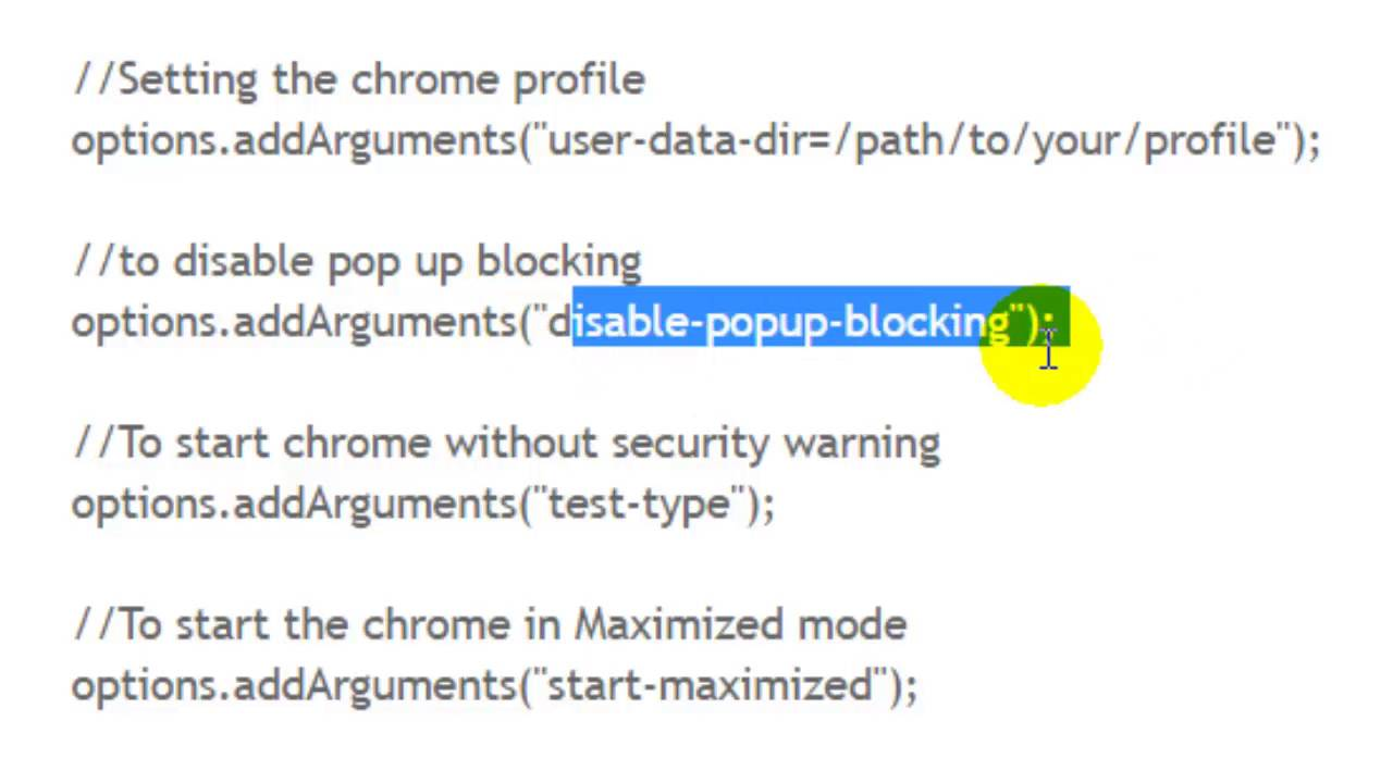 How to disable pop up blocking in chrome in Selenium