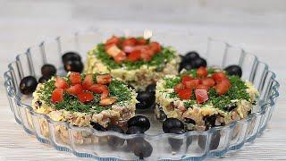 ПРОСТОЙ СЫТНЫЙ САЛАТ (с ветчиной, сыром и маслинами)