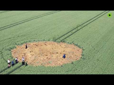 Crop crater: A bomb thought to date from WWII exploded in an open field in Germany