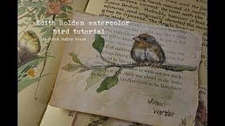 Edith Holden kuş suluboya resim eğitimi & JJ cep