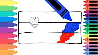 How to Draw Slovenia Flag - Drawing the Slovenian Flag - Coloring Pages for Kids | Tanimated Toys
