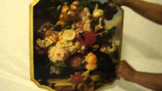 eBay for sale: Gold trimmed Floral Picture with Angels