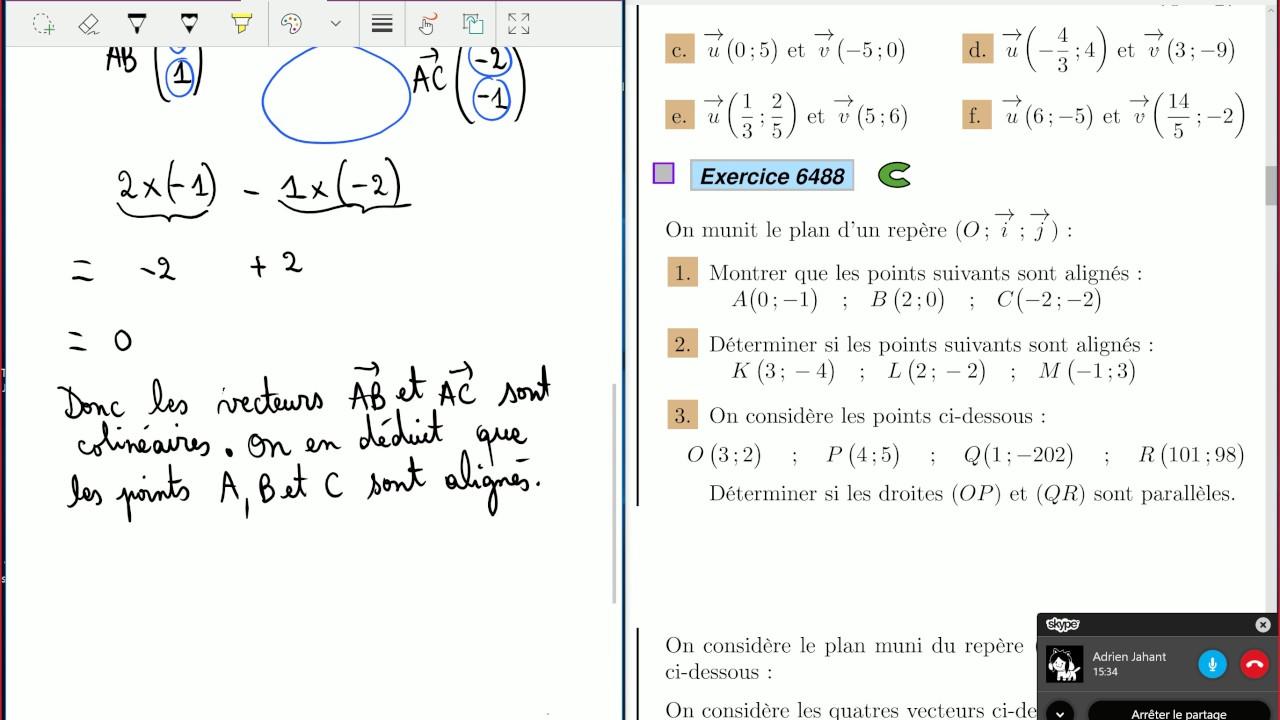 Vecteurs, Équations de droite - 1ère S - Exercices ...