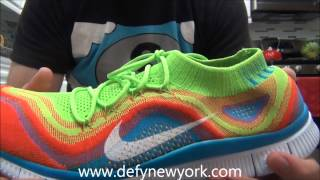 LIVE! On Feet Nike Free Flyknit Electric Green/White-Brght Crmsn Blue