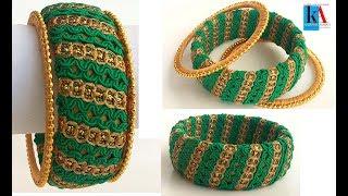 How to make designer silk thread kada bangles using lace - tutorial !