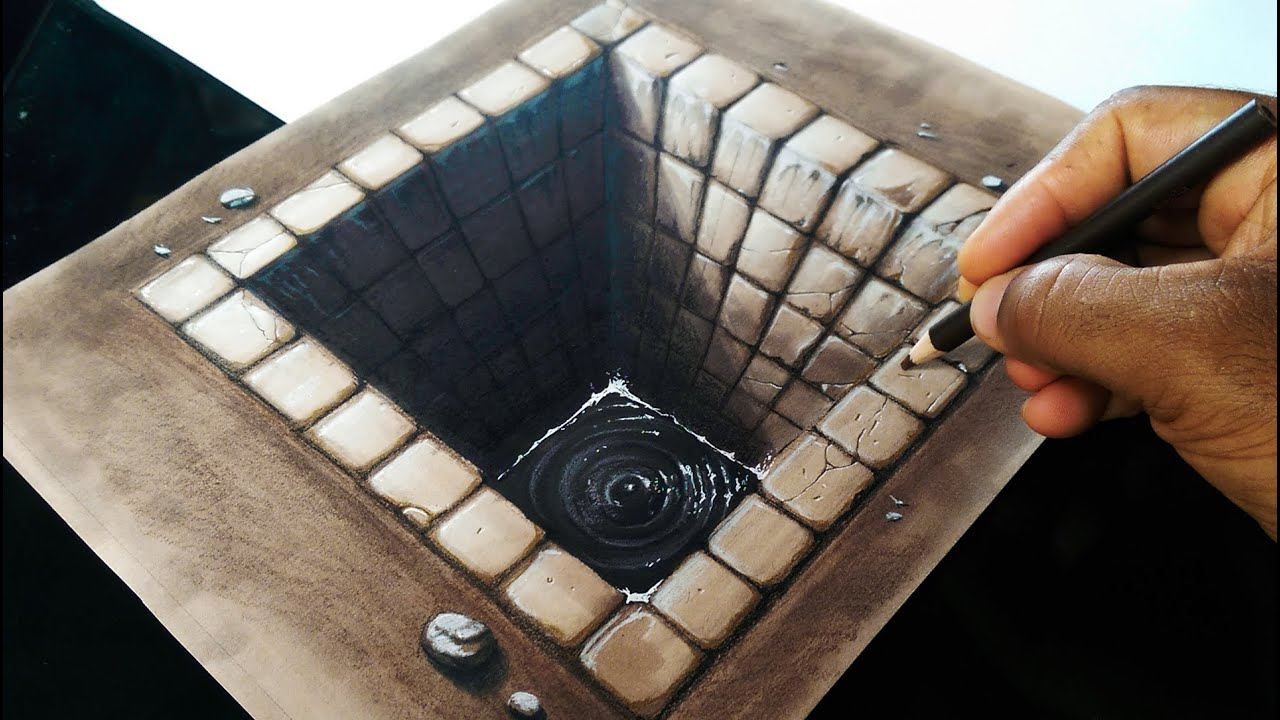 Drawing a Brick Hole - 3D illusion - YouTube