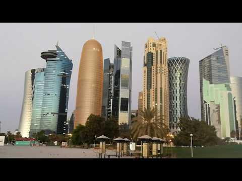 Moments before sunrise in Doha at the Corniche