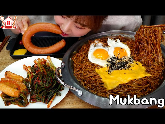 매콤한 불닭게티와 🍜 킬바사 소시지 먹방 파김치, 총각김치도 ~ Mukbang