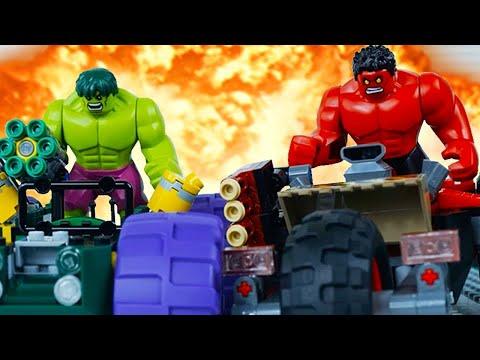 LEGO Hulk STOP MOTION W / Hulk vs Red Hulk: Racing | LEGO Hulk Brick Building | LEGO Worlds