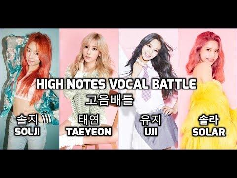 Solji Vs Taeyeon Vs Uji Vs Solar : High Notes Vocal Battle A4~G#5 : 솔지 Vs 태연 Vs 유지  Vs 솔라 - 고음배틀