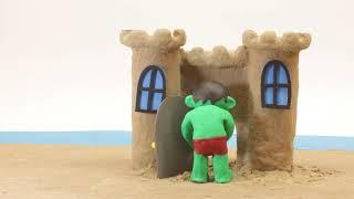 Sand Castle 💕 Superhero Play Doh Stop motion cartoons