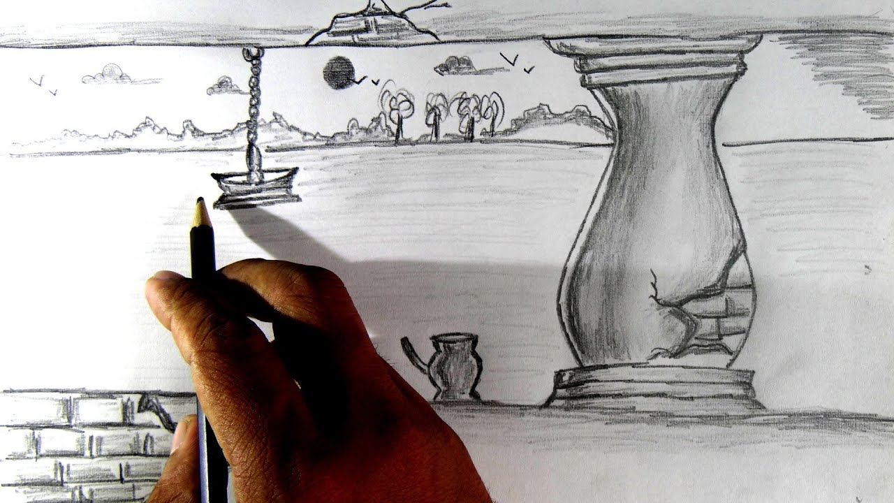 How to draw a simple scenery pencil drawing. - YouTube  How to draw a s...