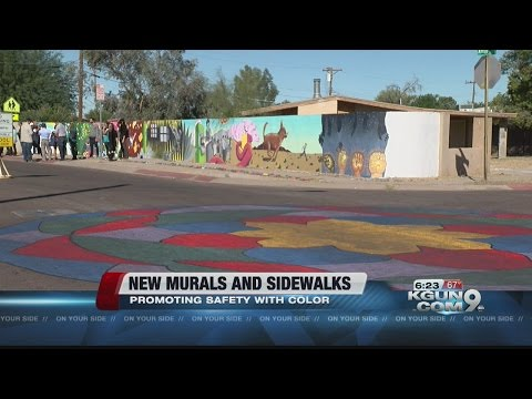 Pueblo Gardens Elementary School splashes color on walls and crosswalks to increase safety and fun