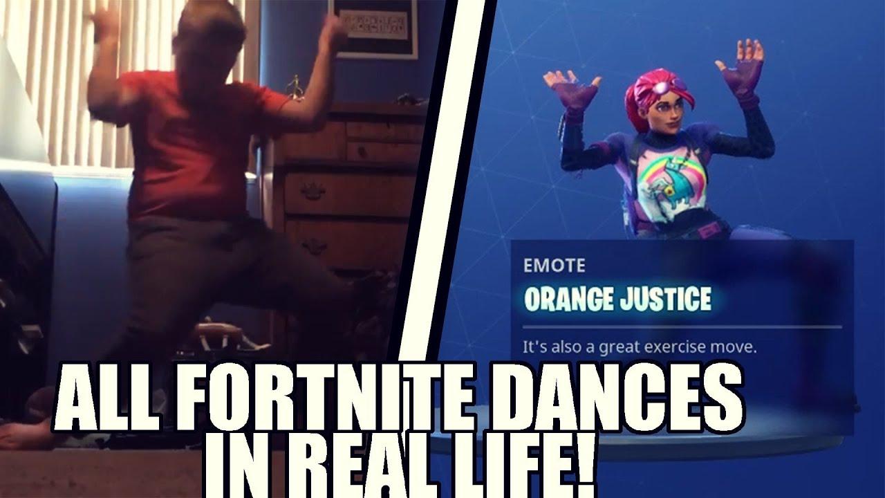 New All Fortnite Season 4 Dances In Real Life Orange Justice