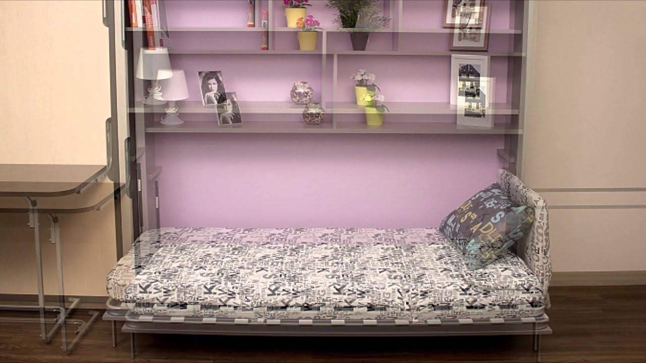 откидная кровать встроенная в шкаф - YouTube