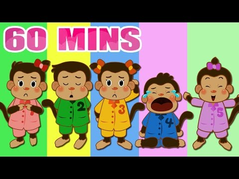 Five Little Monkeys Jumping On The Bed - Nursery Rhymes Songs with Lyrics and Actions