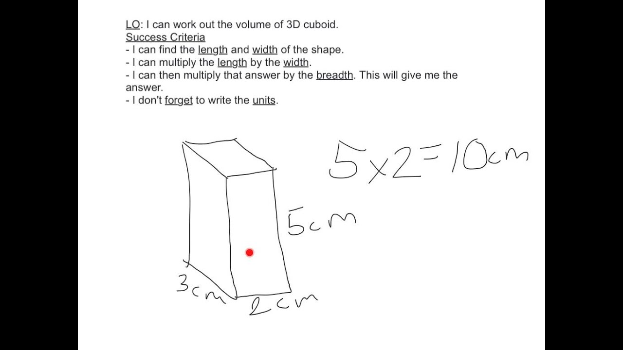 Working Out The Volume Of A Cuboid Youtube