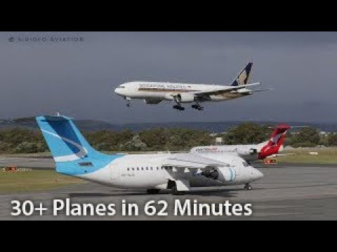 30+ PLANES!  62 MINUTES! NON STOP ACTION at Perth Airport with ATC.