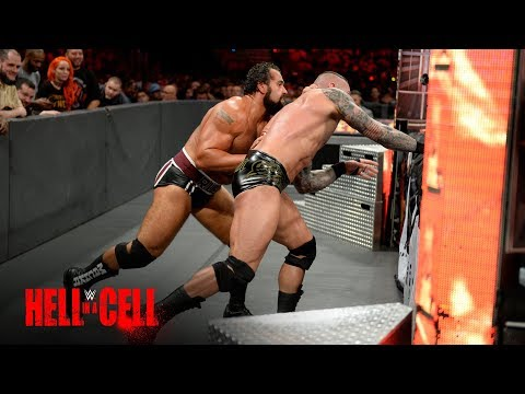 Rusev sends Randy Orton crashing into the ringside barrier: WWE Hell in a Cell 2017 (WWE Network)