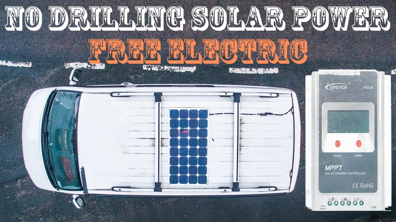 FREE ENERGY Solar Panel VW Campervan Install | How to Tutorial | No Drilling DIY PV T5 Vanlife ...