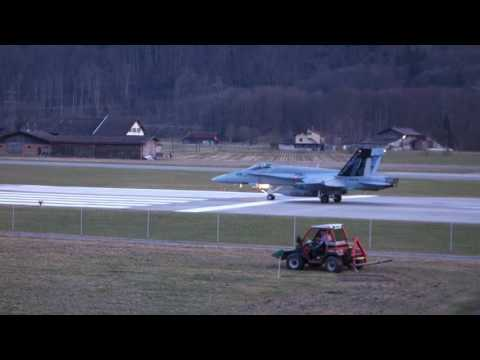 Fighter Jet Swiss take off in Alps