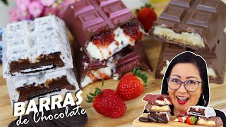 TRÊS SABORES DE BARRAS DE CHOCOLATE SUPER RECHEADAS