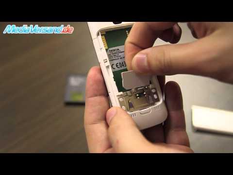 Nokia C5 SIM-Karte und Akku einsetzen Handy Telefon Mobile