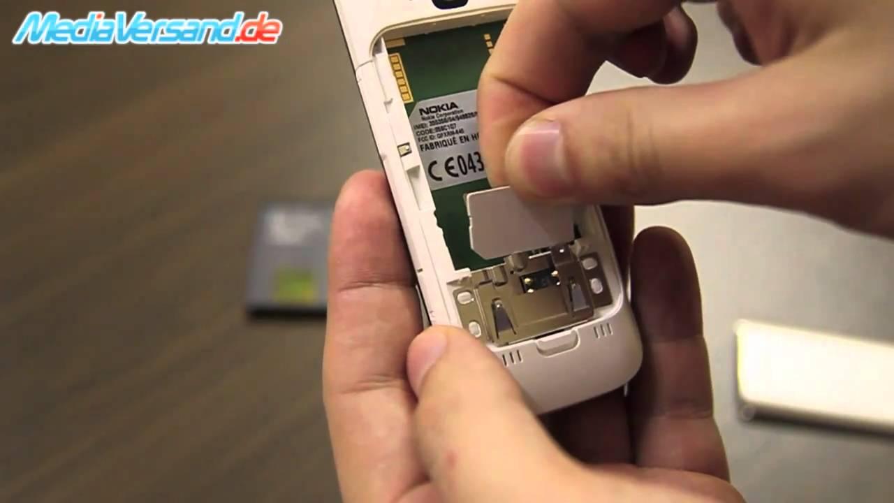 Nokia C5 SIM-Karte und Akku einsetzen Handy Telefon Mobile - YouTube
