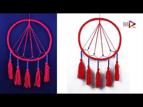 DIY Geometric Dreamcatcher Easy Way | How To Make A Macrame Dream Catcher | Wool Wall Hanging