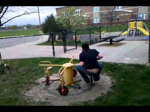 Stupid teenager in preschool playground