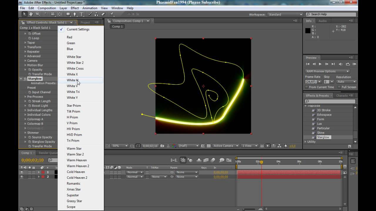 Adobe After Effects Tutorial - How to use 3D Stroke and Starglow