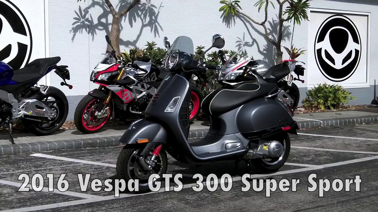 2016 vespa gts 300 super sport grey at euro cycles of tampa bay youtube. Black Bedroom Furniture Sets. Home Design Ideas