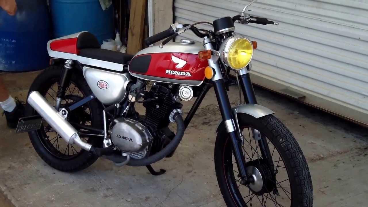 bare bone rides custom 1972 honda cb100ss cafe racer (walk around