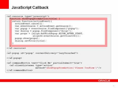 Using JavaScript in Oracle ADF Faces Application Development