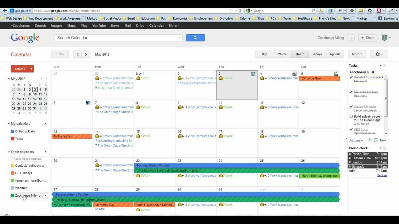 how to make google calendar default