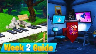 Fortnite Week 2 Challenges Guide! - Secret Banner, Piano Locations & Abandoned Mansion (Season 7)