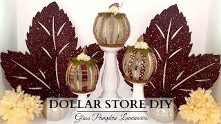 Dollar Store DIY'S ~ Glass Pumpkin Luminaries ~ NEUTRAL Fall Decor