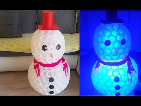 Diy snowman made of plastic cups and christmas light i for Snowman made out of cups