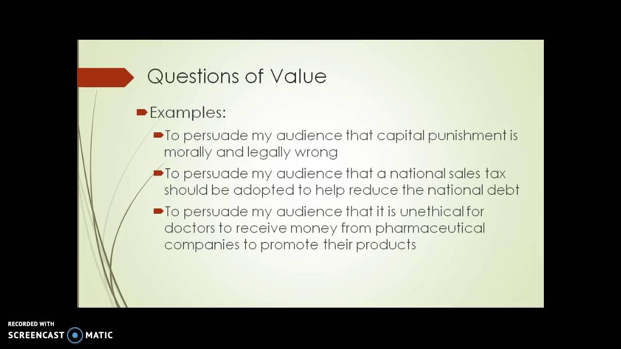 persuasive speech layout