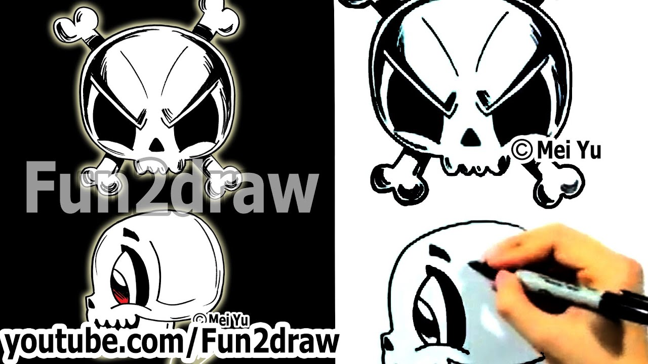 how to draw a skull 2 different ways fun things to draw