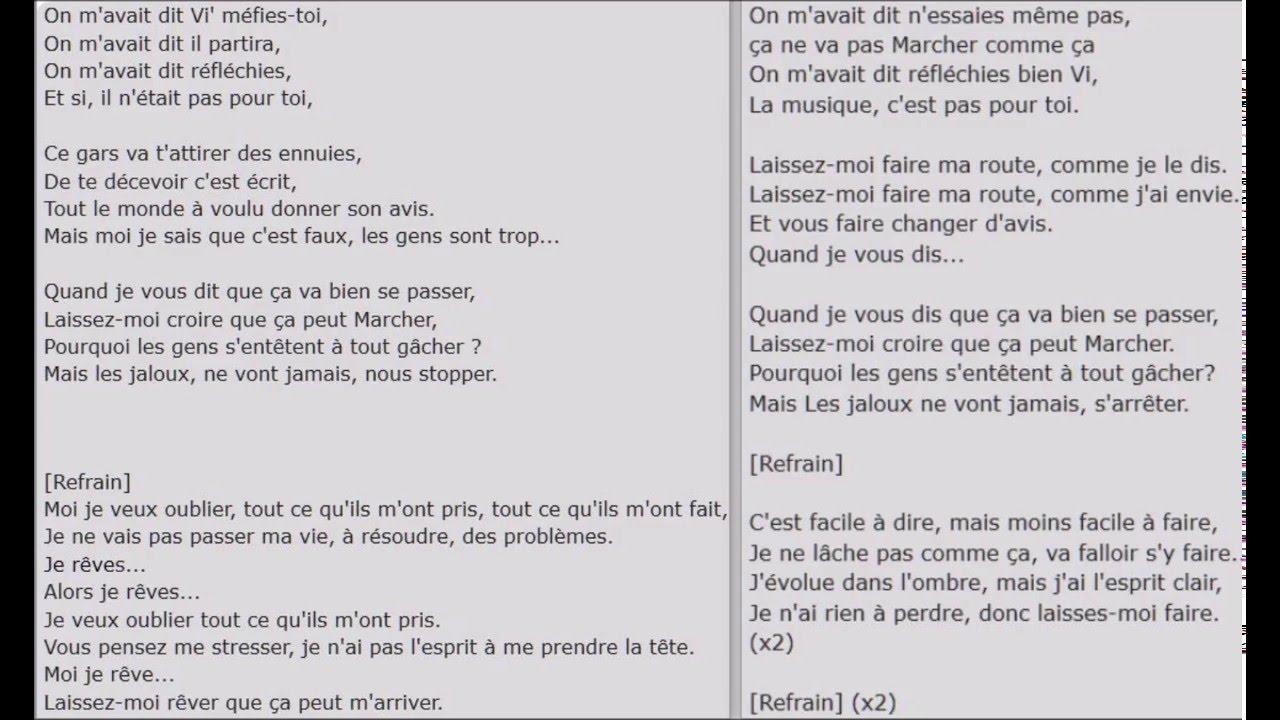 Vitaa je reve paroles traducci n espa ol lyrics youtube for Dabs je craque parole