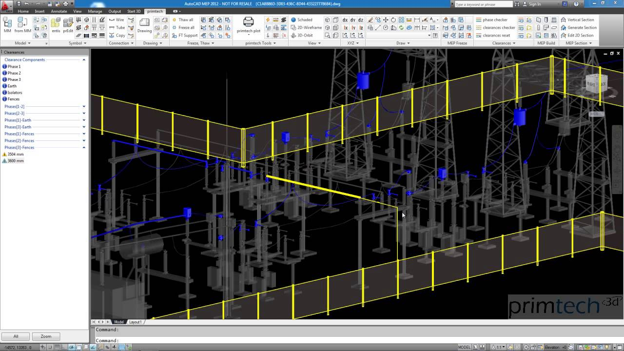 Substation design: clearance calculation | 3D CAD model