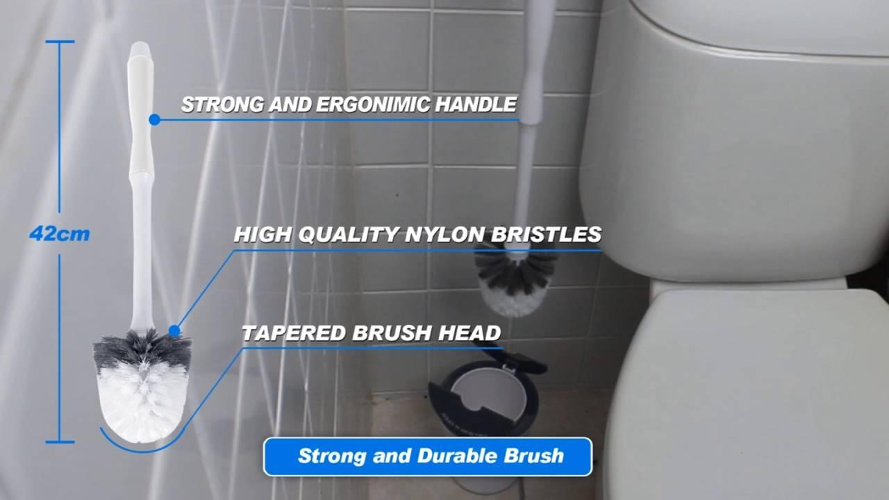 Toilet Brush Head : White magic compact toilet brush & canister youtube