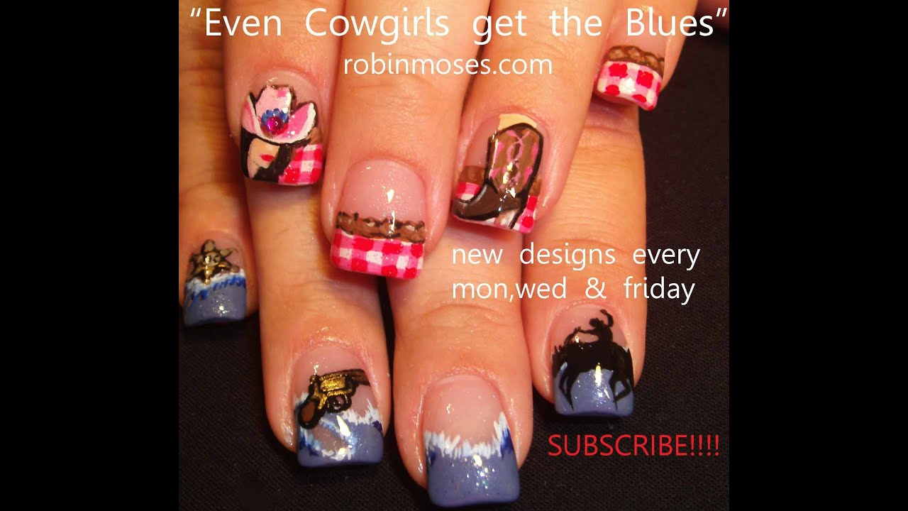 Country and Western Nail Art - YouTube