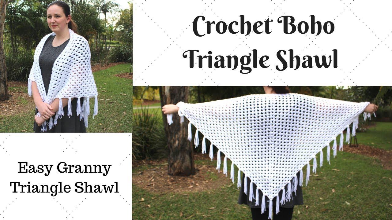 Easy Crochet Boho Triangle Shawl - Crochet Granny Triangle
