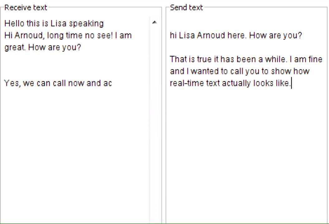 Example Real-Time Text Conversation