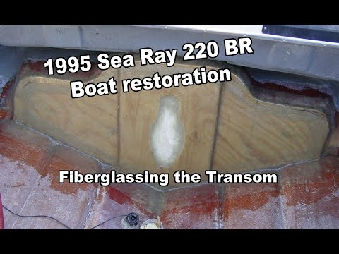 Tabbing the transom on the Sea Ray with 1708 Fiberglass