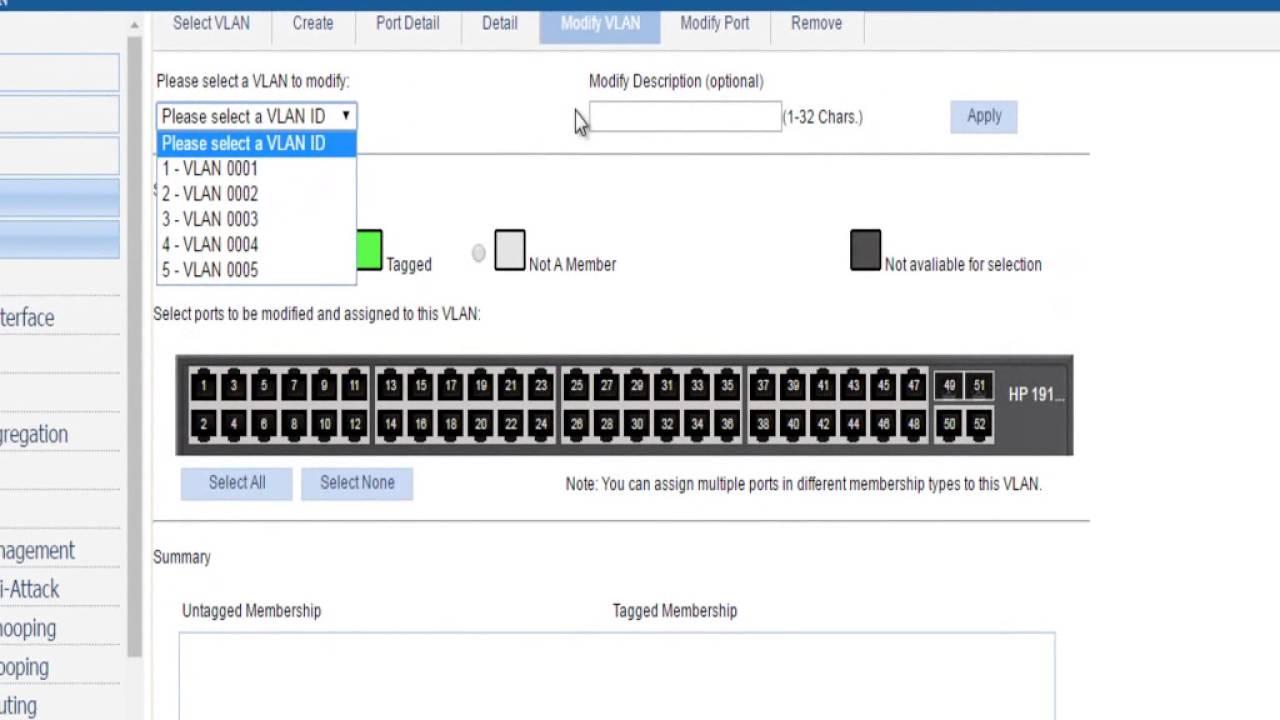 Criando VLANs e configurandos as portas no Switch HP 1910